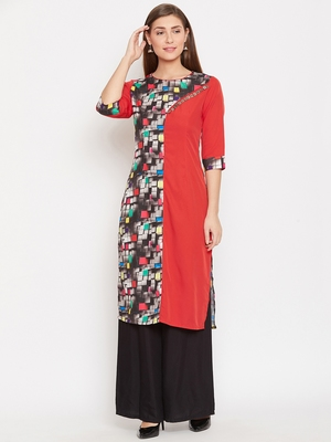 Women Red Color Printed Polyester Kurti