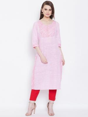 Women Pink Color Khadi Cotton Kurti