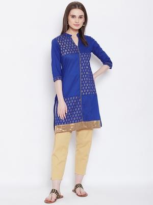 Women Blue Color Printed Cotton Kurti