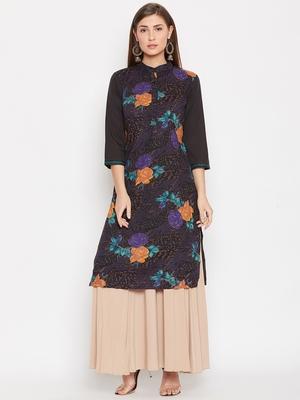 Women Black Color Floral Printed Cotton Kurti