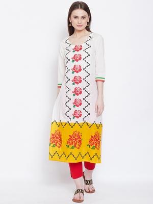 Women White Color Floral Printed Cotton Kurti