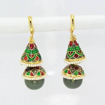Meenakari Double Step Earring Green Grey