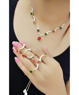 Multicolor stone necklace sets