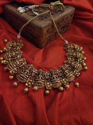 Gold Tone Temple Work Necklace
