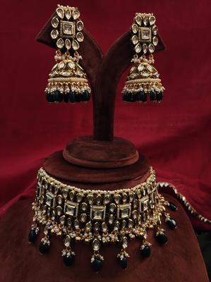 Green Gold Tone Kundan Ispired Necklace Set