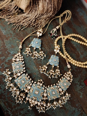 Blue Gold Tone Meenakari Necklace Set