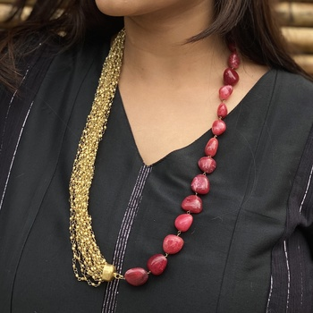 Gold Tone Pink Stone Necklace
