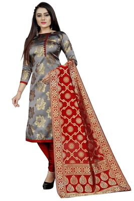 grey woven brocade unstitched sawlar with dupatta