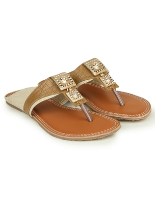Beautiful Beige color synthetic material flats for womens
