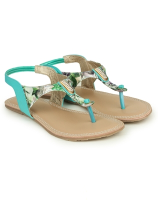 Beautiful Seagreen color synthetic material flats for womens