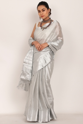 Silver cotton Tissue Saree with White Blouse (unstiched)