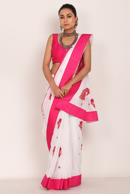 White Kota Chikankari saree with Pink Blouse(unstiched)