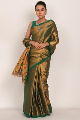 Golden Cotton Tissue Saree With Green Silk Blouse (unstiched)