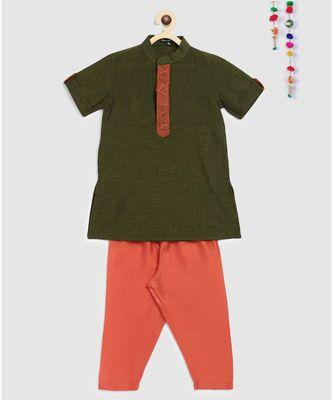 green mangalgiri cotton kurta with embroidered panel and contrast orange pajama