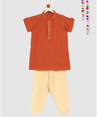 orange mangalgiri cotton kurta with embroidered panel and contrast beige pajama
