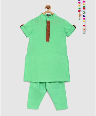 pista green matka cotton kurta with embroidered panel and green pajama