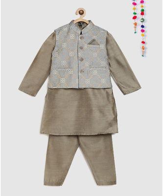full sleeves kurta and pajama-grey , with brocade jacket
