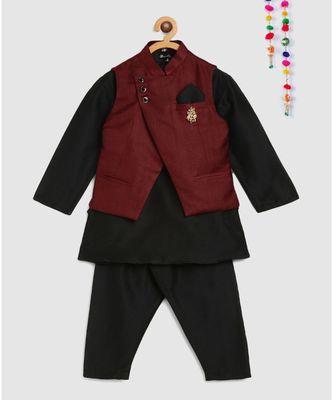 full sleeves kurta and pajama- black, with maroon tussar silk jacket with brooch