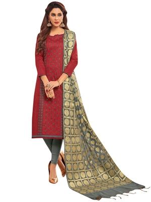 Red embroidered blended cotton salwar