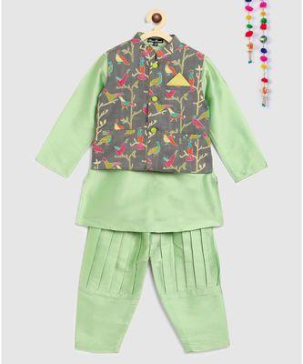 green kurta, green jodhpuri pajama with contrast grey bird print jacket