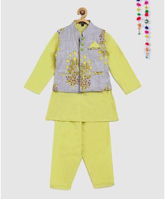 lime green kurta -pajama with contrast grey floral block print jacket
