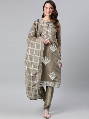 Grey embroidered silk blend salwar