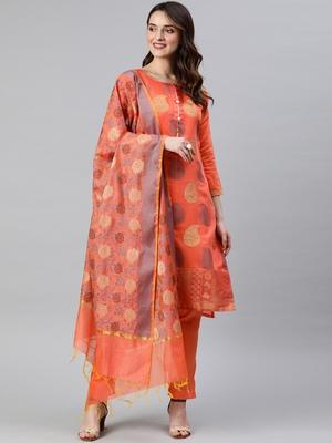 Peach weaved banarasi silk salwar