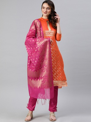 Orange weaved banarasi silk salwar