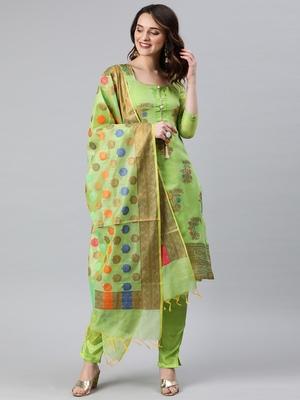 Parrot-green weaved banarasi silk salwar
