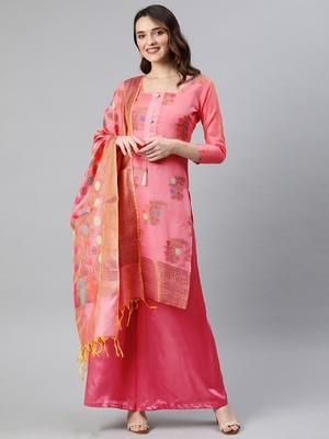 Light-pink weaved banarasi silk salwar