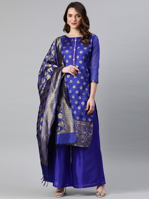 Royal-blue weaved banarasi silk salwar