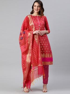 Pink weaved banarasi silk salwar
