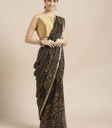 Buy Black printed georgette saree with blouse