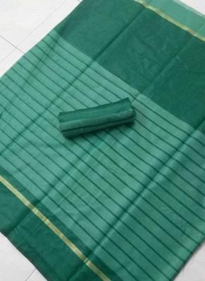 Dark green plain chanderi silk saree with blouse