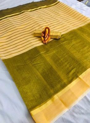 Yellow plain chanderi silk saree with blouse