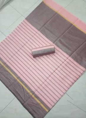 Light baby pink plain chanderi silk saree with blouse