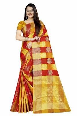 Women's Banarasi Silk  Gold Red Round Buuti Sari
