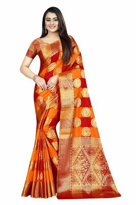 Women's Banarasi Silk  Orange Red Round Buuti Sari