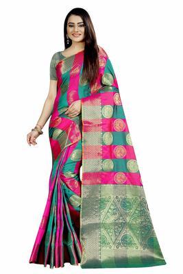 Women's Banarasi Silk Rama Pink Round Buuti Sari
