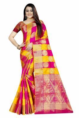 Women's Banarasi Silk Pink Yellow Round Buuti Sari