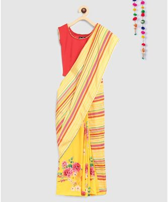 yellow pre stitched saree in 2 prints