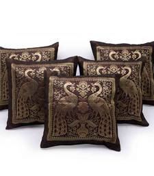 Peacock Design Brown Brocade 5Pc Cushion Cover Set