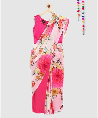 pink pre stitched saree in 2 prints