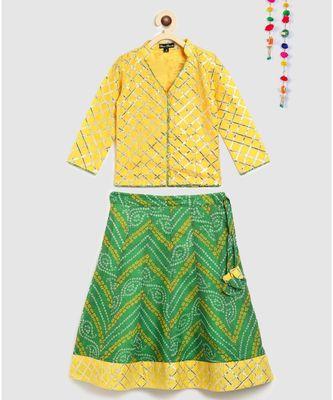 yellow gota patti top with kota doria lehnga