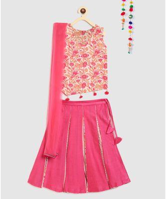 pink block print choli with multi print lehnga