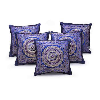 Golden Chakri Design 5 Pc. Blue Cushion Covers Set