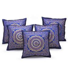 Golden Chakri Design 5 Pc. Blue Cushion Covers Set