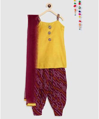 yellow short kurti with bandhani print patiala salwar