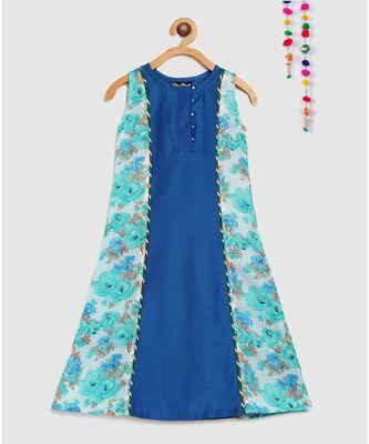 blue long dress indo western