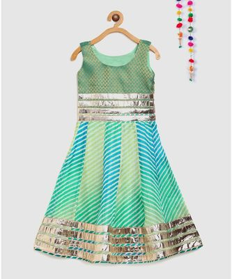 green girls long dress in brocade and kota doria